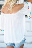 Off Shoulder  Fringe  Plain  Blouses