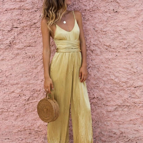 Casual Pure Colour Sling Sleeveless Jumpsuits