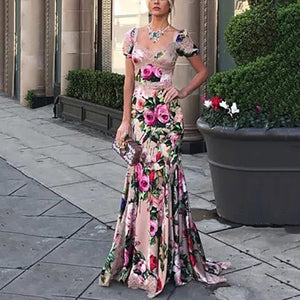 Fashion Sexy Floral Printed Fishtail Evening Dress Maxi Dress