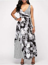 Fashion Print Contrast Broadband High Waist Maxi Dress