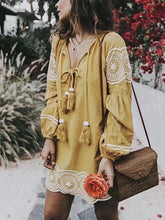 Round Neck Lace Up Embroidery Long Sleeve Casual Dress