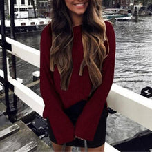Fashion Pure Color Circle Collar  Long Sleeve Sweaters