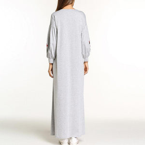 Autumn  Embroidered Long Sleeve Maxi Dress