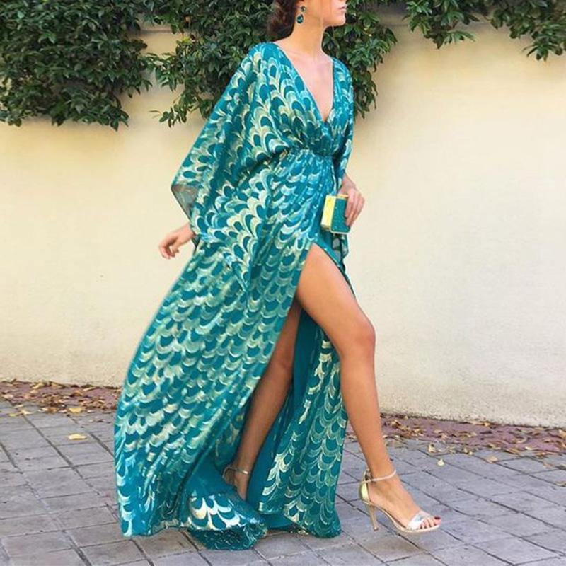 Fashion Deep V Neck Printed Maxi Dress