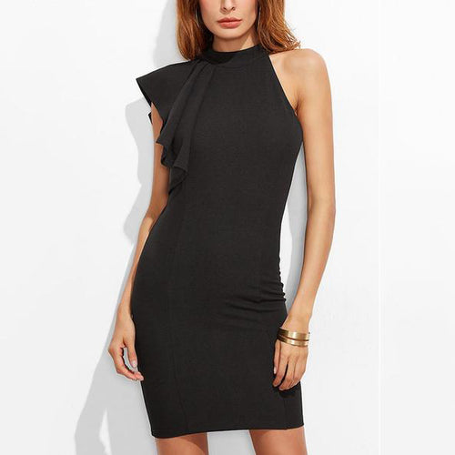 Sexy Black Plain Sleeveless Bodycon Dress
