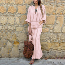 Fashion V Neck Striped Hemp Pocket Maxi Vacation Dress