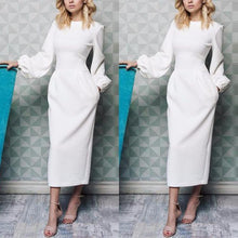 Elegant Plain Lantern Sleeve Round Neck Maxi Dress