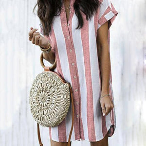 Fashion Stripe Print Casual Mini Dresses