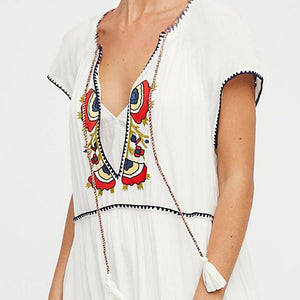 Deep V Neck Lace Up Embroidery Vacation Dress
