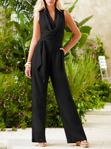 Fashion V Collar Plain Belt Jumpsuit