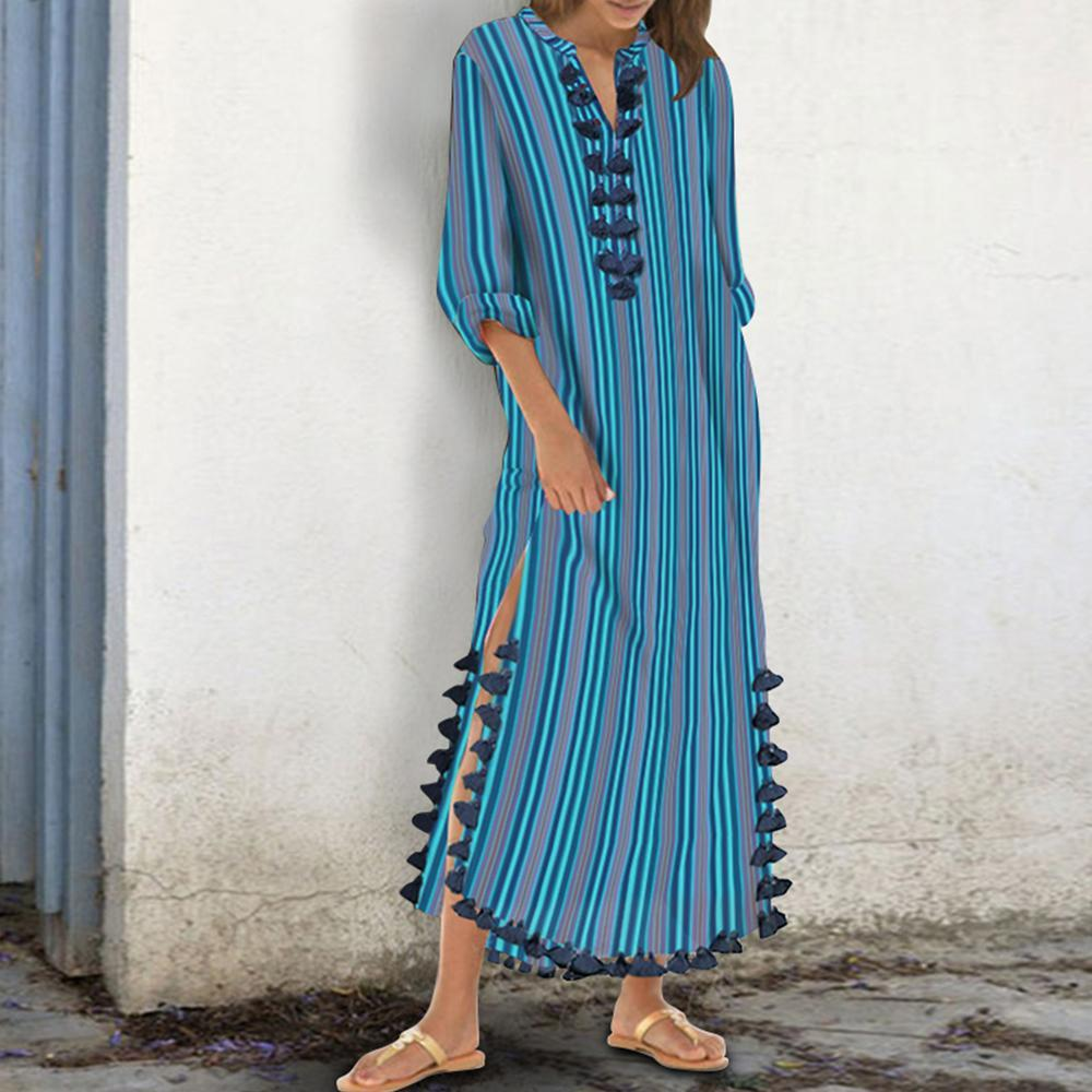 Cotton/Polyester Printed Stripe  Tassel Casual Shift Maxi Dress