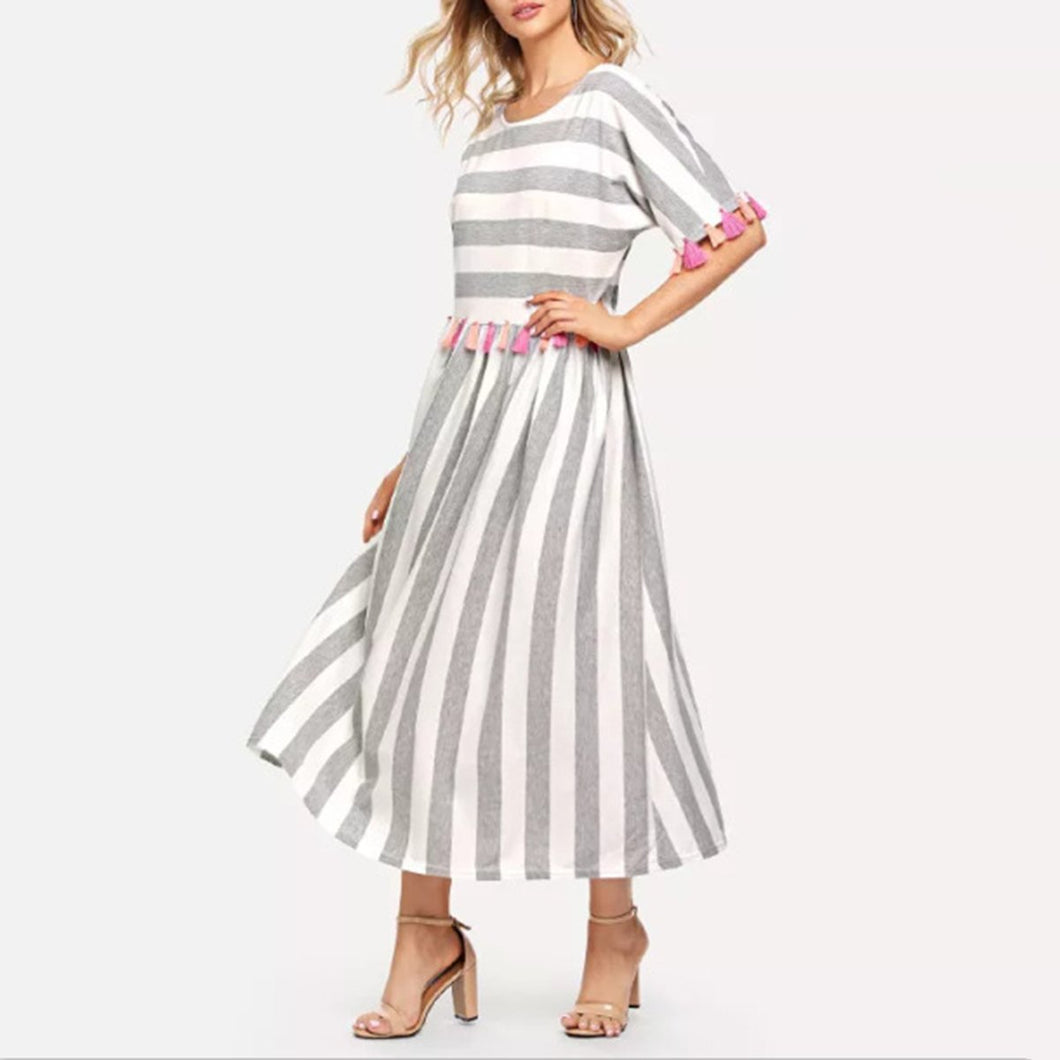 Fashion Stripe Short Sleeve Tassels Maxi Dresses