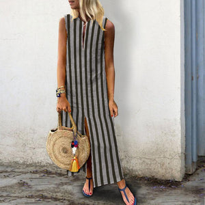 Cotton/Linen Printed Stripe Casual Dress