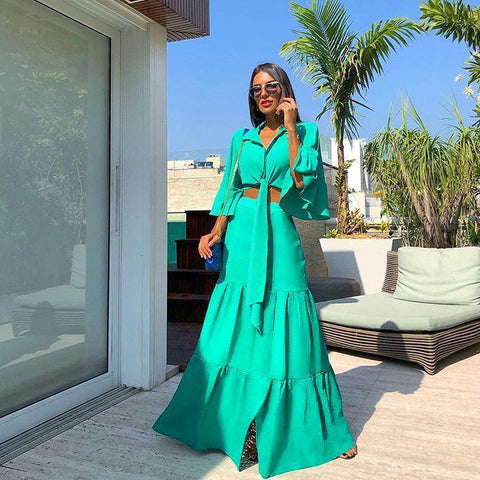Fashion Lapel Collar Pagoda Sleeve Maxi Dress Suit