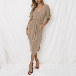 Deep V-Neck Plain Medium Sleeves Vintage Maxi Dress