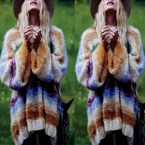 Fashion Lantern Sleeves Multi Color Stripes Sweaters