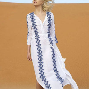 Loose Geometrical Printed 3/4 Sleeve Casual Dress