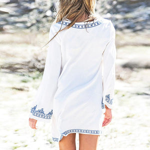 Loose Embroidery Long Sleeve Casual Dress