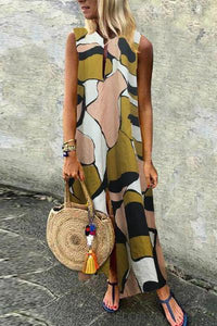 Casual Cotton/Linen Printed Sleeveless Dress
