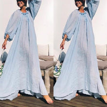 Fashion Round Neck Lace Up Lantern Sleeve Plain Maxi Dress