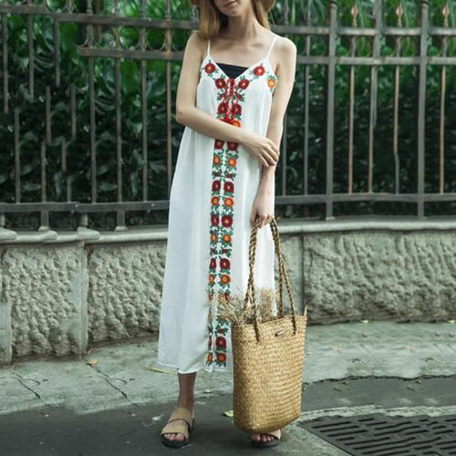 Loose Ethnic Style Embroidered Sling Maxi Vacation Dress