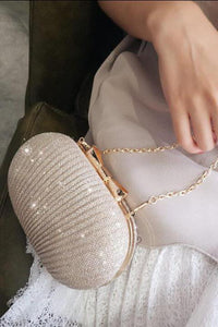 Fashion Paillette Oval Bowknot Buckle Small Hand Bag
