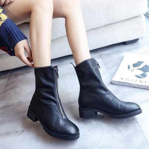 Fashion Chunky Heel Zipper Ankle Boots