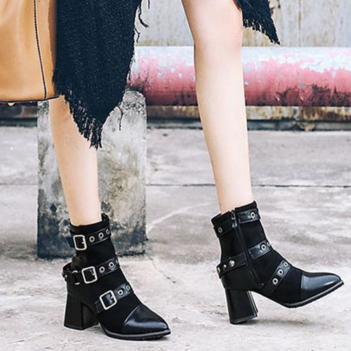 Women's High-Heeled Leather Boots Punk Wind Rivets