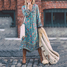 Bohemia Long-Sleeved Tassel Printing Dress