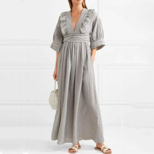 V-Collar Striped Lace Band Maxi Dress