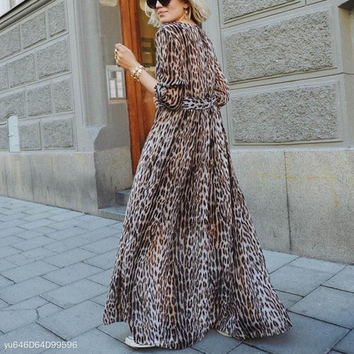 Sexy V-Neck Leopard Printed Long Sleeve Maxi Dress