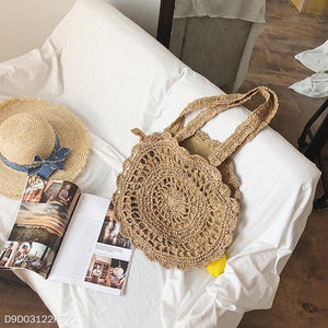 Fashion Casual Vacation Knitting Round Shape Hand Bag