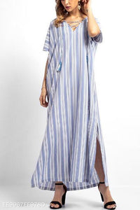 Fashion Vacation Casual Loose Strip Short Sleeve Maxi Dress