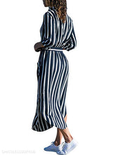 Fashion Striped Long Sleeve Lapel Shirt Dress