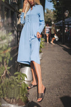 Fashion Casual Loose Plain  V Collar Long Sleeve Maxi Dress