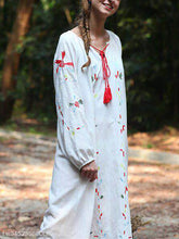 Cotton And Linen Long-Sleeved V-Neck Tie Ethnic Embroidery Casual Dress