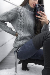 Fashion Casual Daily Life Loose Plain High Collar Long Sleeve Sweater
