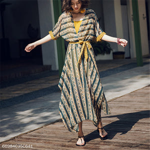 Bohemian Contrast Irregular Dress