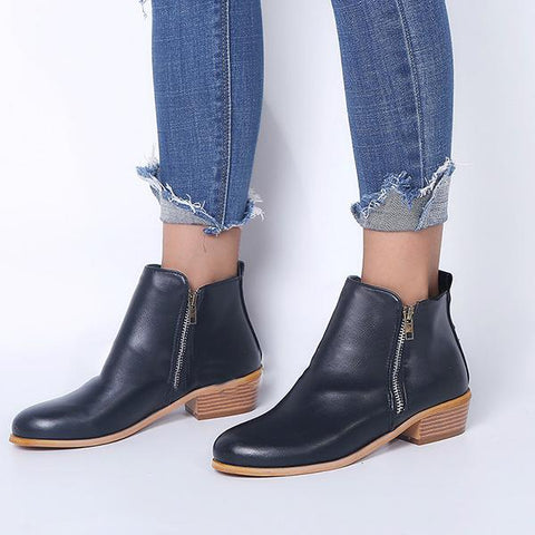 Round Toe Side Zipper Ankle Chunky Boots