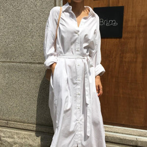 Fashion Loose Plain Defined Waist Maxi Shirt Dress
