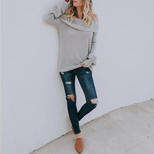 Fashion Loose Off Shoulder Long Sleeve Plain Sweaters