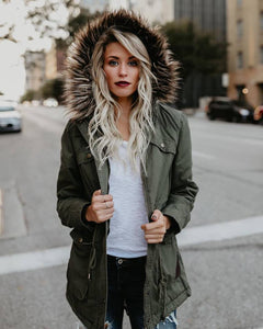 Fashion Hair Collar Full Cotton Long-Sleeved Jacket