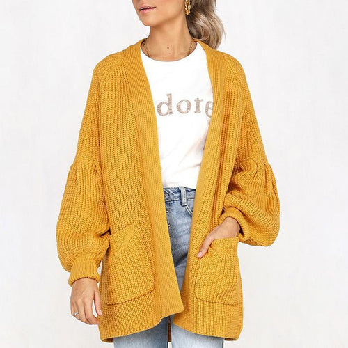 Four-Color Puff Sleeve Pocket Cardigan Sweater