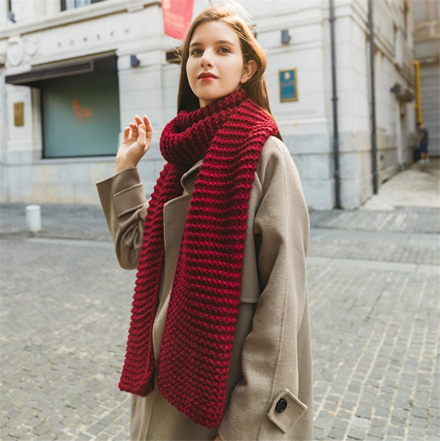 Casual Sweet Chic Thermal Plain Rectangle Scarf