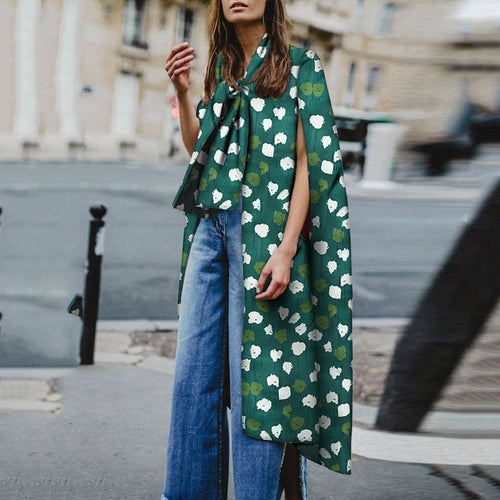 Sexy Green Floral Printed Loose Sleeve Shawl