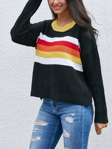 Colorful Striped Color Round Neck Sweater
