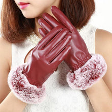 Elegant Rabbit Fur PU Leather Gloves Travel Soft Warm Full Fingers Touch Screen Gloves