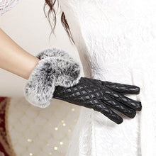 Touch Screen Gloves PU Leather Windproof Warm Faux Rabbit Fur Gloves
