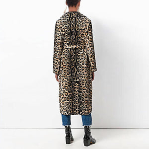 Fashion Lapel Belt Leopard Printed Long Sleeve Coats