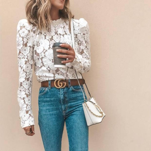Fashionable Elegant Lace Long-Sleeved Top